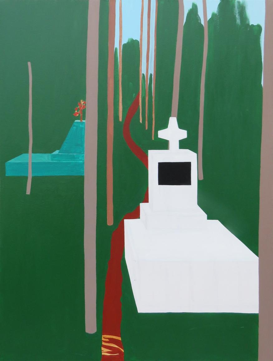 Graveyard in mawlynnong, 100×75 cm, acrylic, canvas